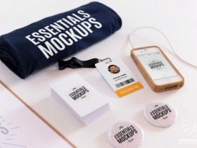 简约工作室办公工牌胸牌VI样机模型效果图PSD下载